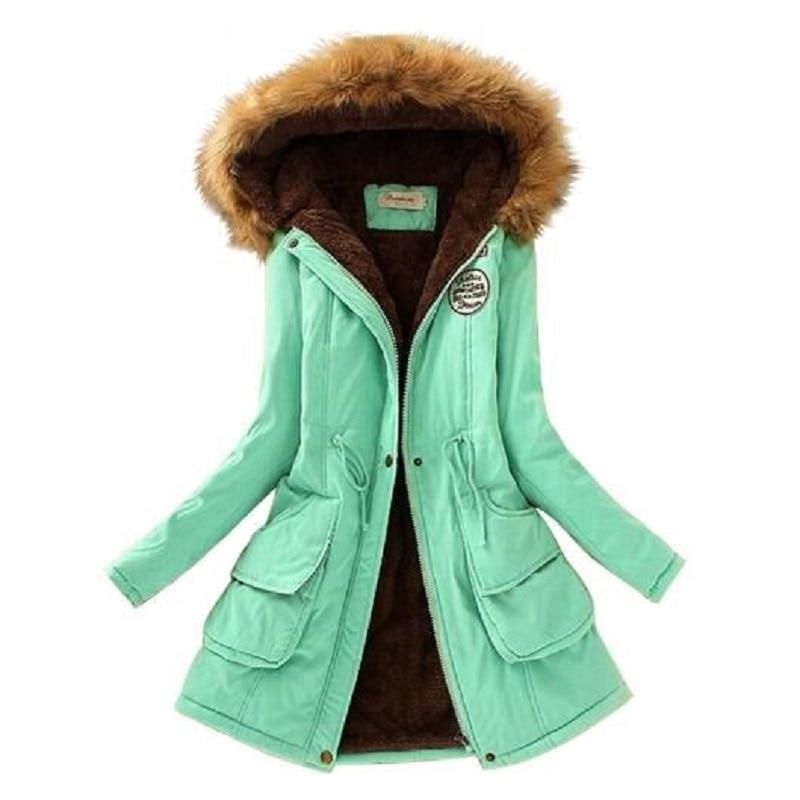 Autumn Winter Jacket Women Parka Warm Jackets Fur Collar Fleece Coats Long Parkas Casual Hoodies Winter Coat Woman Clothes
