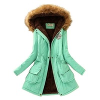 Осенне-зимняя куртка женская парка теплые куртки с меховым воротником флисовые Пальто Длинные парки повседневные толстовки зимнее пальто ...