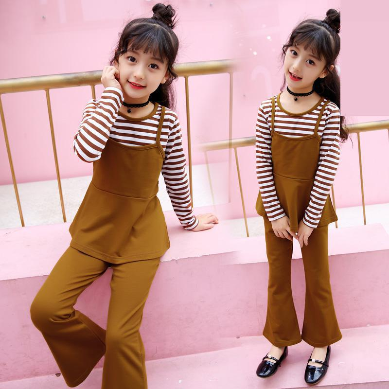 цена New Arrive Baby Girls Clothing Sets Autumn Girls Clothes Long Sleeve Cotton Striped Patchwork T-shirts + Pants 2 Pcs Kids Suits