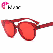 MARC UV400 2018 NEW WOMEN MEN sunglasses Cat eye Gradient Red Brown Plastic Clear