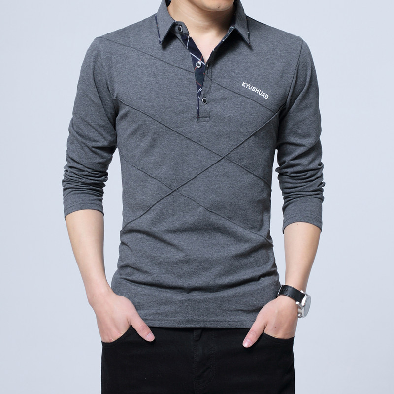 5XL Polo Shirt Collar Men Plus Size 3XL 4XL Autumn Button Brand Men Polo Shirt Long Sleeve Casual Male Shirt Dress Polo Shirts 11