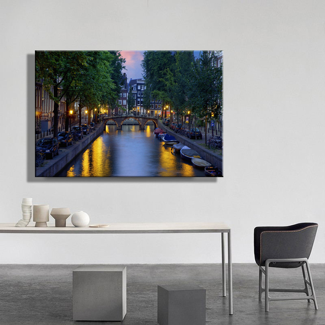 led canvas print of holland amsterdam canal with bridge at night picture canvas wall art. Black Bedroom Furniture Sets. Home Design Ideas