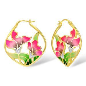 Image 2 - SANTUZZA Silver Earrings For Women 925 Sterling Silver Flower Dangle Earrings Gold Color Fashion Jewelry Handmade Enamel