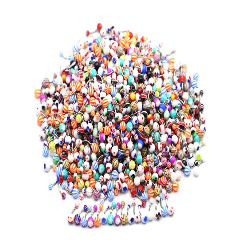 טבור פירסינג סיטונאי 1Pc תעשייתי בר משקולת אקראי אקריליק צבעוני משקולת כדור טבור טבעות סקסי גוף תכשיטים