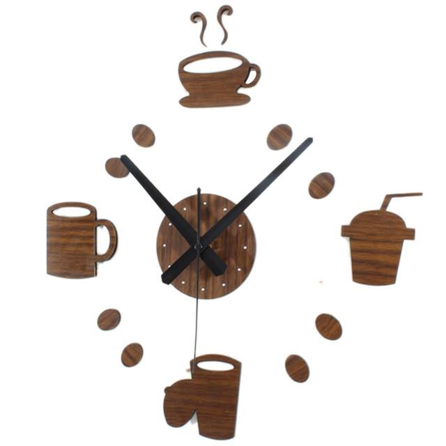 Creative DIY Wall Clocks Modern Design Coffee Cup Wooden Clocks Decorative  Kitchen 3D Stickers Wood Wall