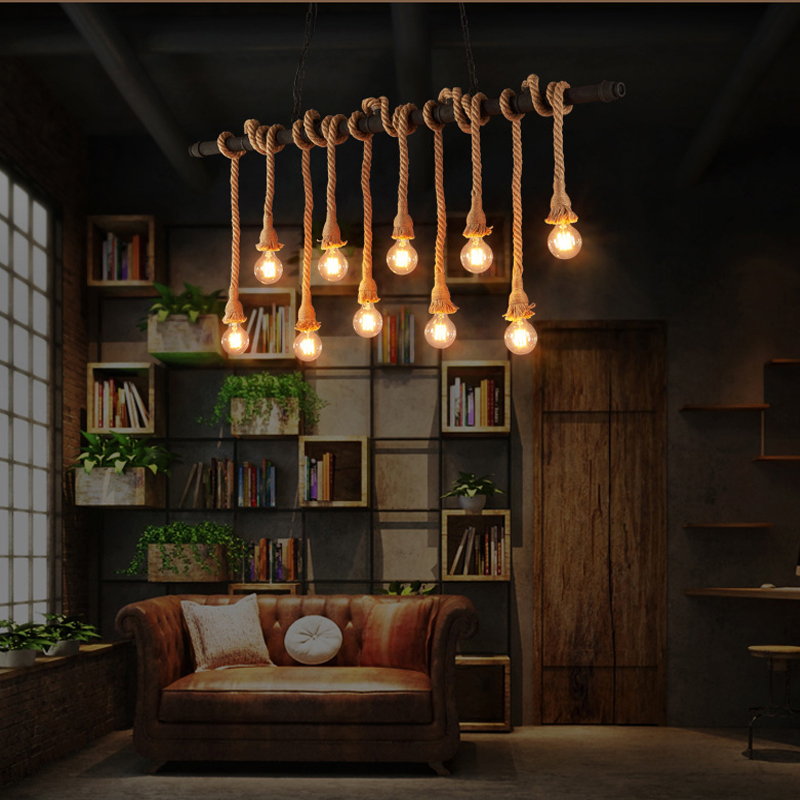 Luals Loft Style Pendant Lamp Creative Edison Bulb Light Fixture Metal Pipe Hanging For Cafe Bar Personality Lighting