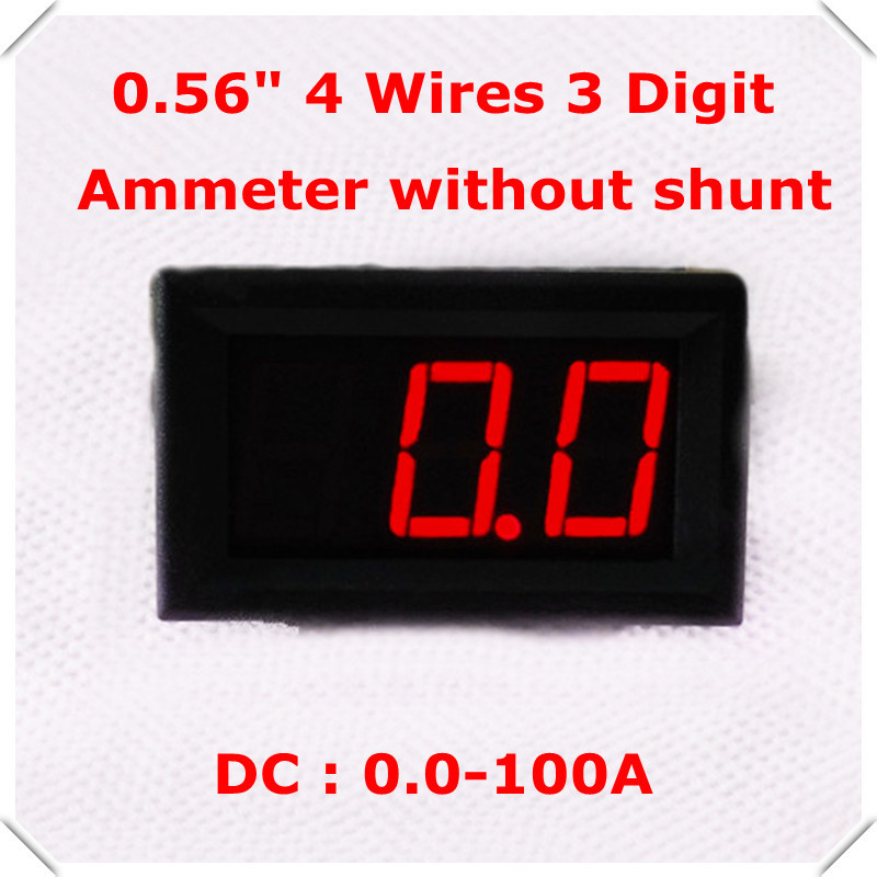 RD AMP led Display Color 0 56 Digital Ammeter DC 0 100A 4 wires 3 digit