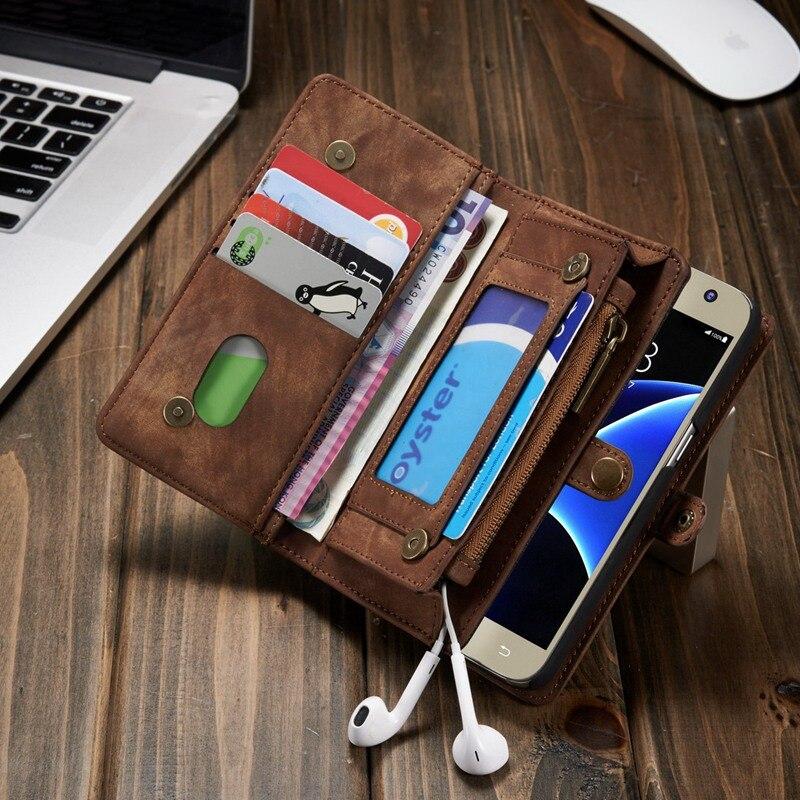 imágenes para S8 Caso paquete de la Tarjeta Monedero de Cuero de lujo Para Samsung galaxy funcionalismo Para Smasung galaxy Bolso Del Teléfono S8 Más Caso Retro cubierta