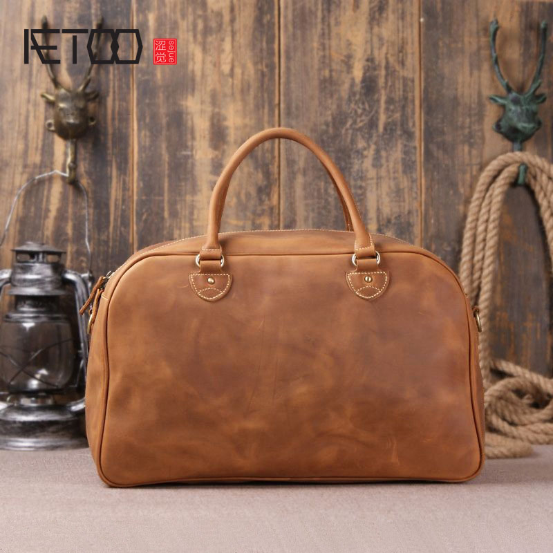 AETOO Europe and the United States hot sales of the first layer of leather imports of large-capacity portable bag bag hamkin lug united states production of amway