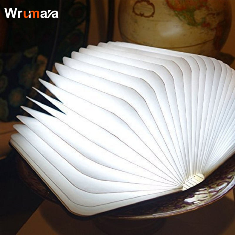 Wrumava Mini Foldable Page Folding Led Book Shape Night Light Lighting Lamp Portable Booklight Usb Rechargeable Table Book Light wooden foldable led night light booklight led folding book lamp usb rechargeable for decor desk table wall magnetic lamp