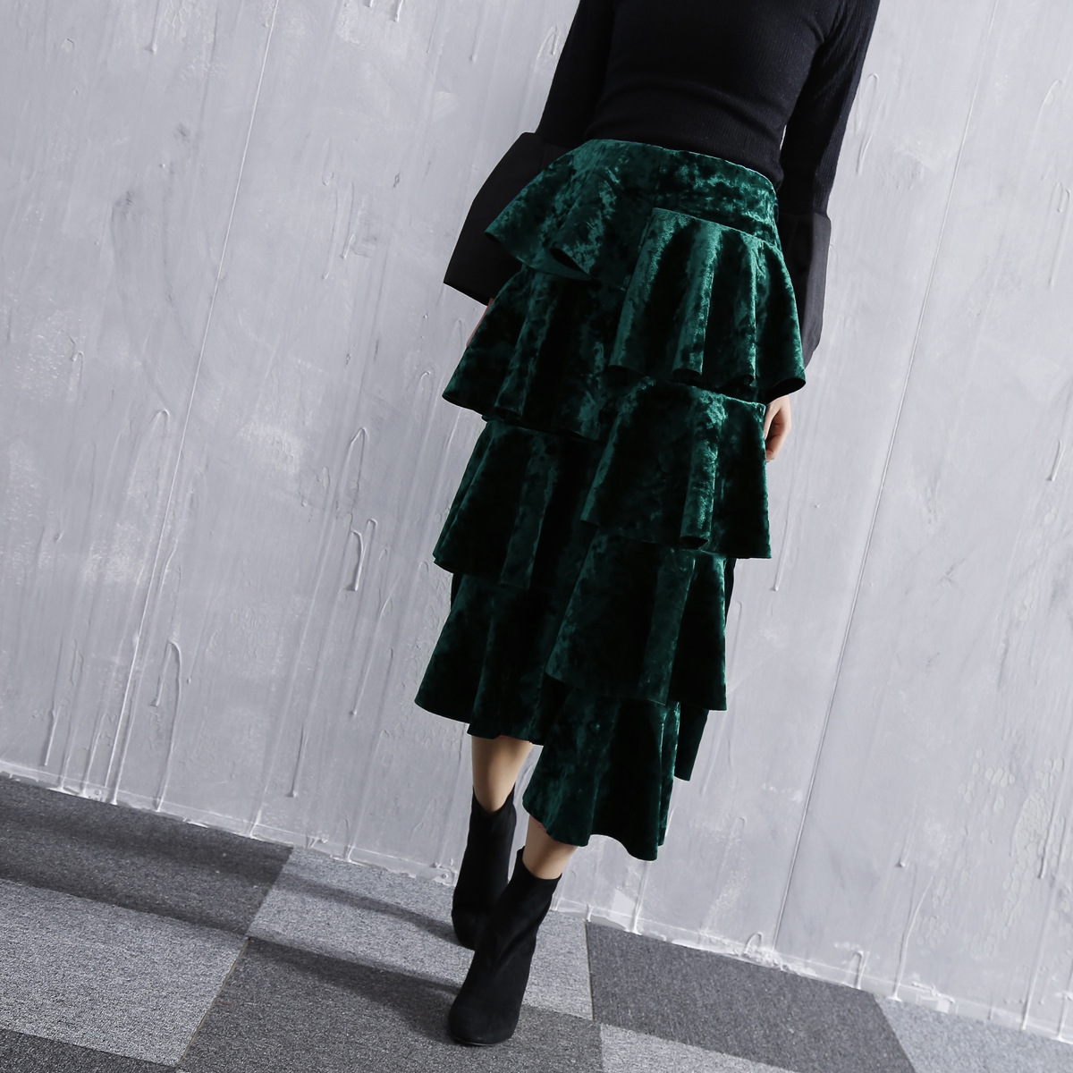 Faldas Mujer Vintage De Falda Mediados Otoño Asimétrico Qd691 Longitud Green Velvet negro Moda Cake Alta Invierno Cintura 2018 FxOzIw