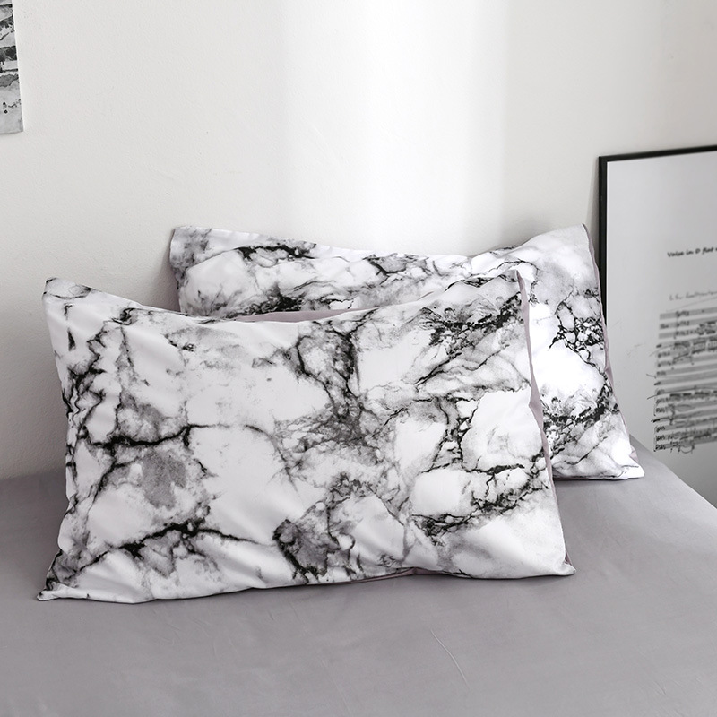 Cilected White/Black Marble Pattern Sanding Pillowcase Banana Leaf Printing Single Cover 50*70Cm Bedding Pillow Case 2Pc
