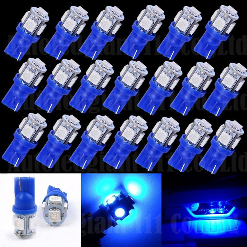 WLJH 20х светодиодный синий T10 W5W автомобилей светодиодов освещение габаритных фонарей интерьер купол инструмент предупреждения парковка зазор лампы автомобиля Источник света