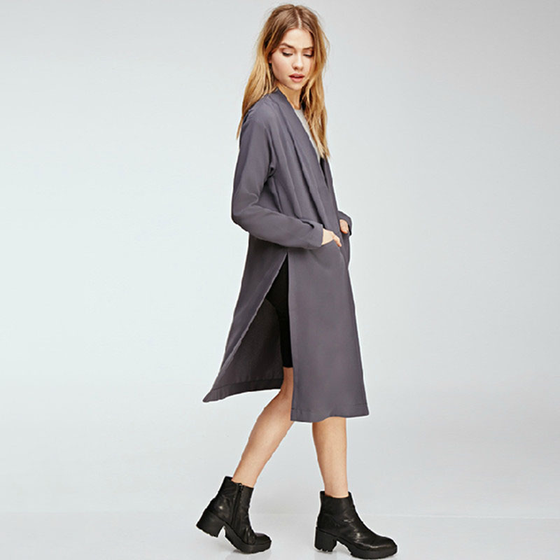 WomensDate 2017 Spring New Fashion Women 2 Colors Open Stitch Cloak Thin Trench Coats Outwears Poncho Coat