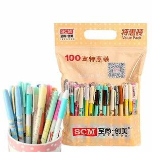 Image 2 - Canetas de gel 100 pçs/lote scm coréia empresa criativa papelaria gel caneta mix 0.35 0.38 0.5 canetas para artigos de papelaria estudante suprimentos