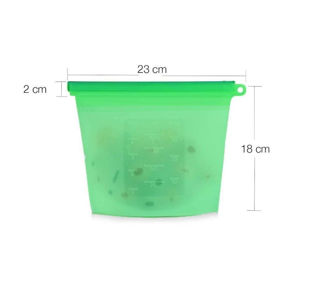 Image 5 - 4PCS/Set 1000ml Kitchen Food Sealed Storage Bag Reusable Fridge Fresh Bags Silicone Fruit Meat Vegetable Container Organizer B4-in Saran Wrap & Plastic Bags from Home & Garden