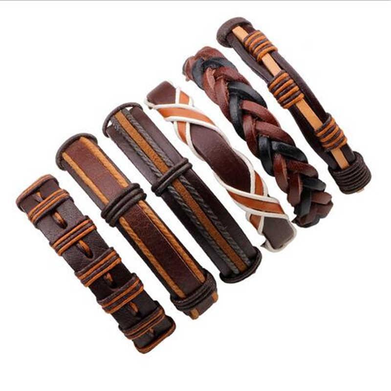 Venta al por mayor 3-6 unids/lote hecho a mano étnico tribal genuino wrap encantador hombre pulsera de cuero trenzado negro pulseras