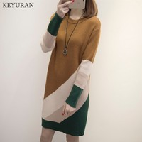 Long Knitted Women Sweater Dress For Women 2018 Pullover Round Collar Female Long Sleeve Fall Winter Bottoming Knitting Dresses