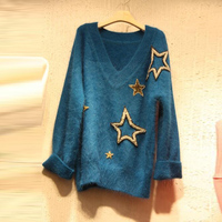 2018 Vogue Autumn Women Stars Appliques Blue Sweater Korean Long Sleeve V Neck Female Knitted Pullover Casual Loose Ladies Tops