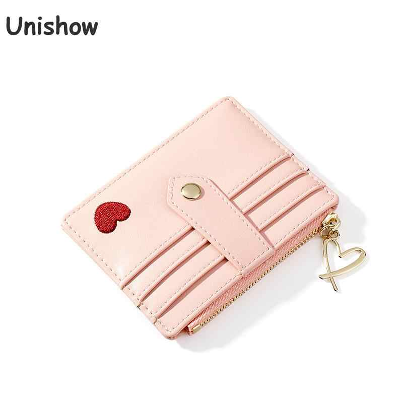 Unishow Women Card Holder Wallet Small Credit Card Holders Pu Leather Female Minimalist Wallet Zipper Coin Purse Id Holders