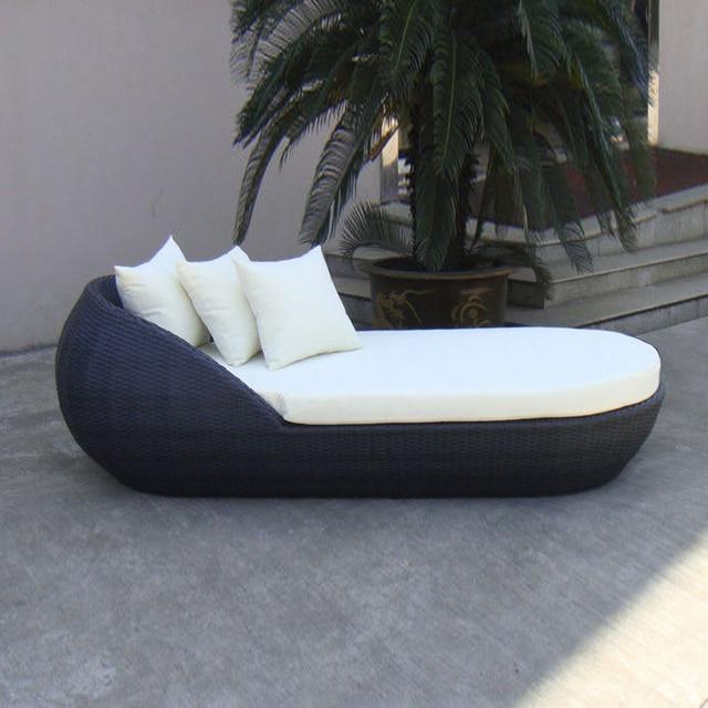 outdoor patio wicker rattan sun lounger black beach lounge chair