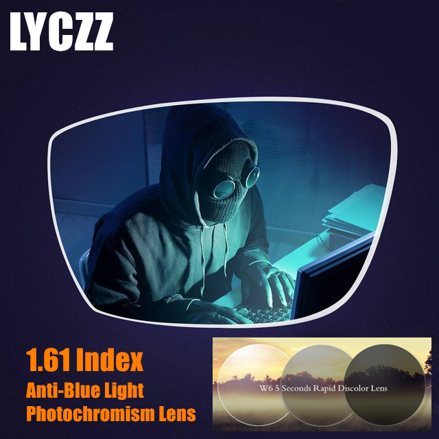 LYCZZ 1.61 photochromique Anti-rayons bleus ordinateur myopie lentille optique asphérique Prescription lentilles claires lunettes de protection UV
