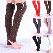 New Fashion Women Lace Button Leg Warmer Knitted Stocking Wi