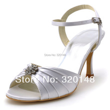 Shoes for Bride EP2114 White Ivory Open Toe Rhinestone Satin Thin Heels Buckle Wedding Shoes Women Summer Sandals Pumps