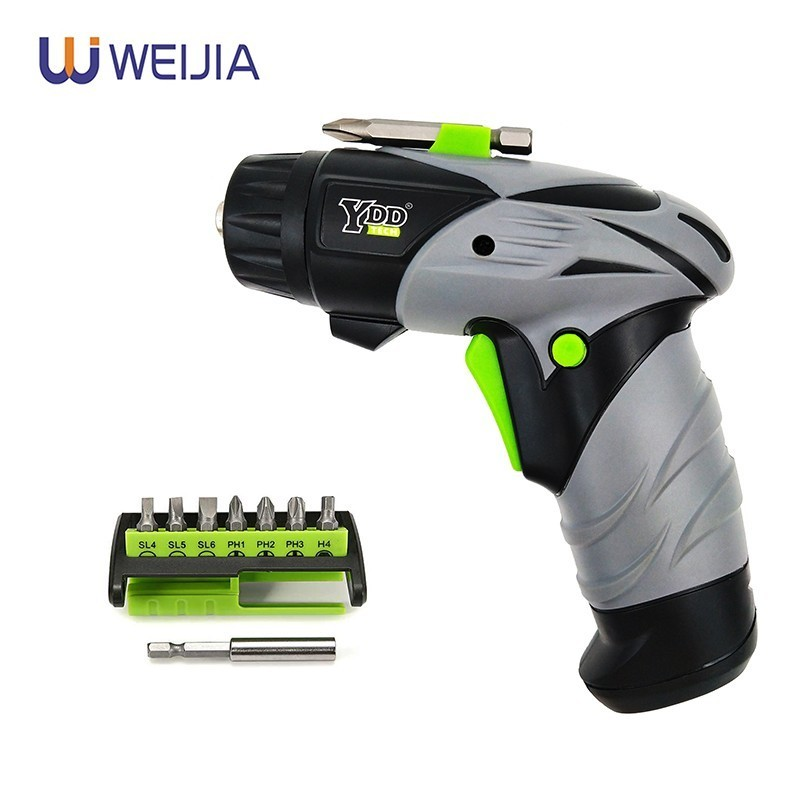 6V Mini Battery Cordless Electric Screwdriver  Rotary Screw Driver With Work Light And 8 Bits For Household Maintenance