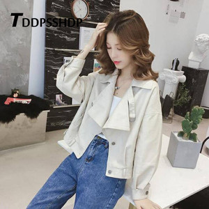 Image 4 - Spring 2019 Red Color Hongkong Style Women Pu Leather Jacket Fashion Locomotive Bf Female Coat