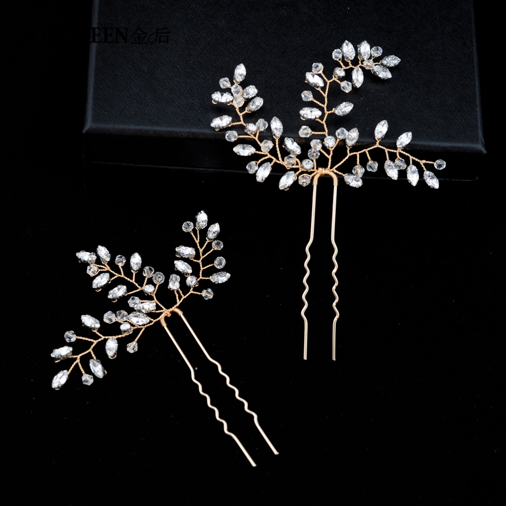 TOPQUEEN Wedding Accessories Bridal Hairpiece Elegance Handmade By Rhinestone Wedding Hair Pine For Women Fast Shipping HP60