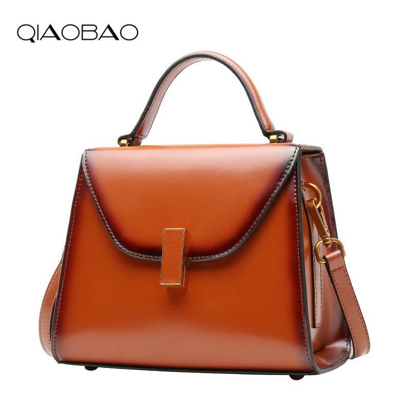 QIAOBAO Genuine Leather Women Bag Luxury Handbags Female Vintage Lock Bag Button Casual Tote Brand Fashion Design 2018 цена