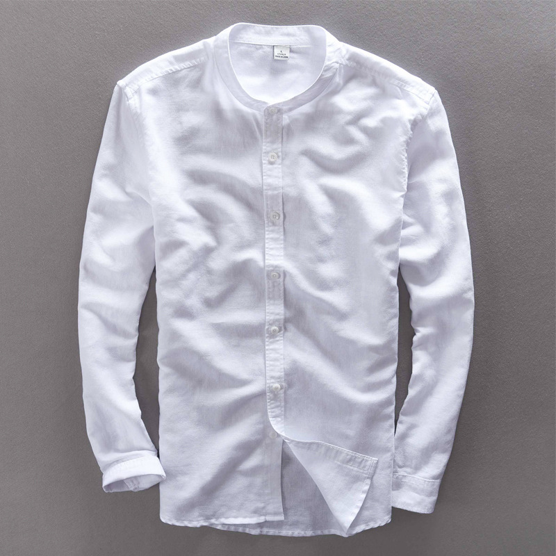 70% Linen 30% Cotton White Casual Shirt Men Stand Collar Long Sleeve Slim Fit Brand Men Shirt Fashion Camisa masculina Homme