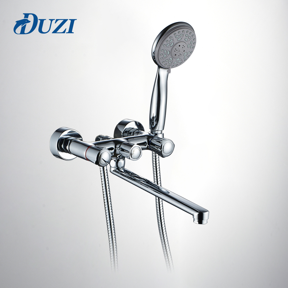 DUZI Bathroom Shower Faucets with Long Spout Set Dual Handle Bathtub Faucet with Hand Shower Head Wall Mount Chrome Brass D6113 wall mount 10 inch thermostatic bathroom shower faucet mixer taps dual handle with hand held shower chrome finish