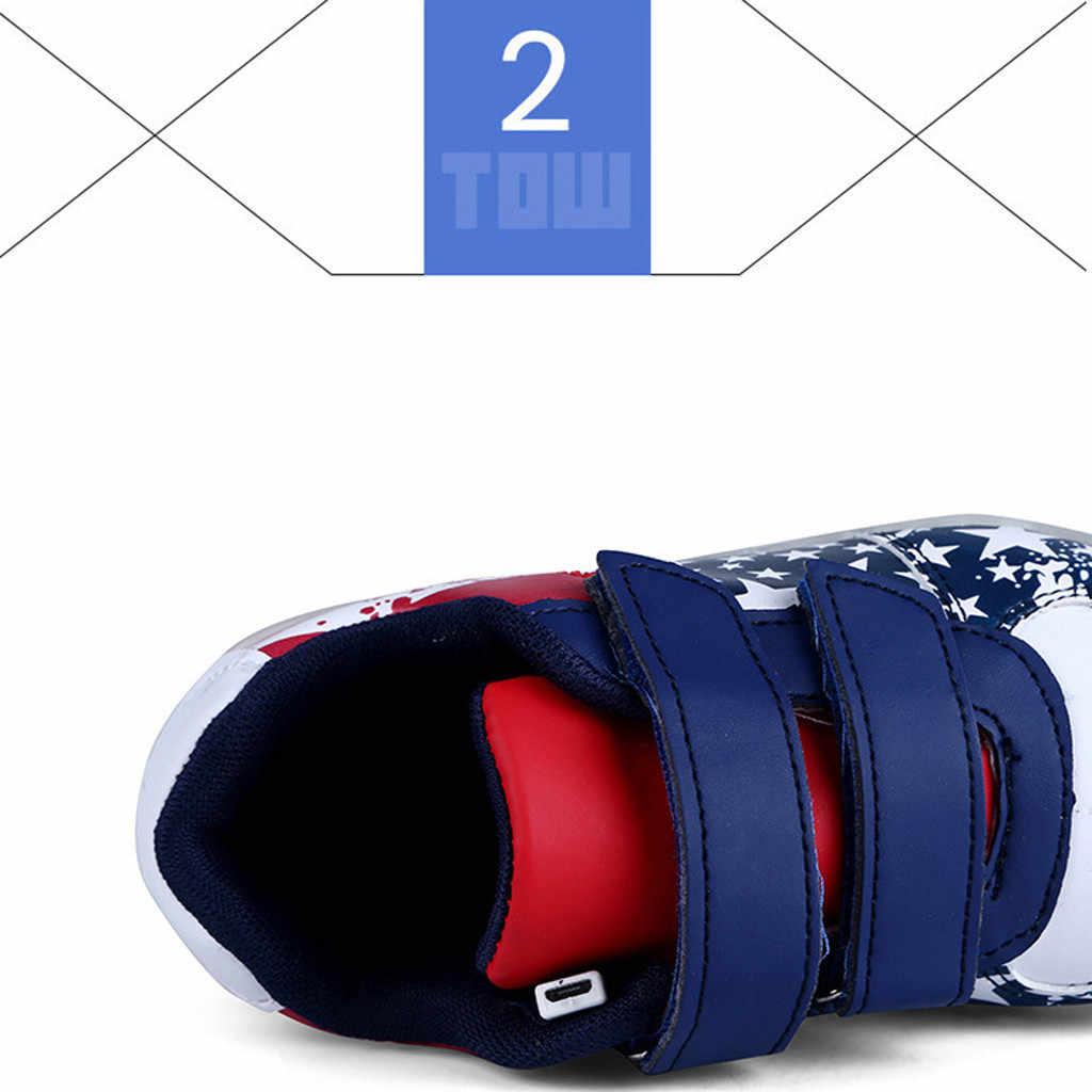 เด็กวัยหัดเดินทารก FLAG เด็กทารก USB Breathable LED Luminous กีฬารองเท้ารองเท้าผ้าใบ Zapatos De Mujer รองเท้า
