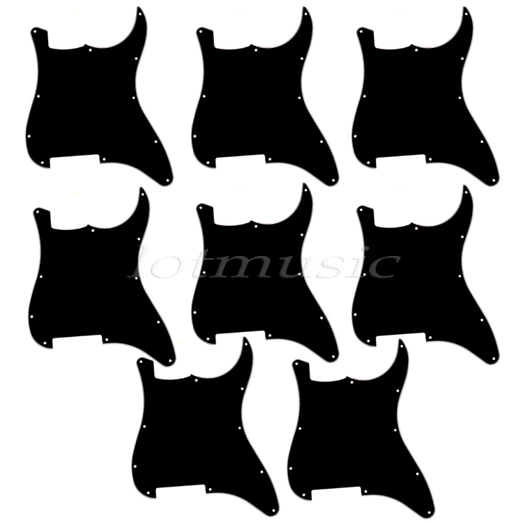 8pieces Black Electric Guitar Pick Guards,3PLY Durable Pickguards with11 holes For Strat Replacement