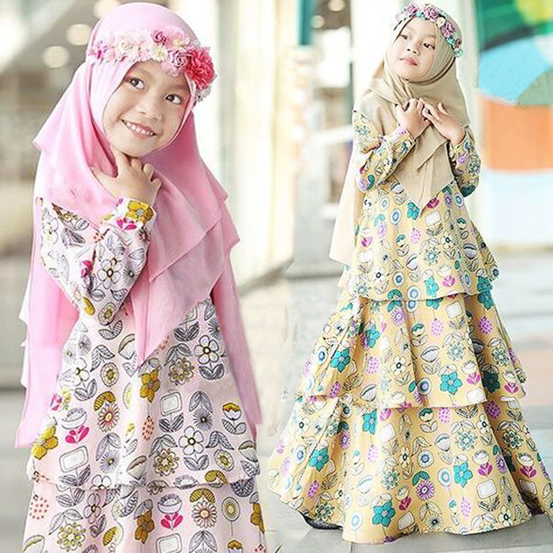 Muslim Kids Abaya Turkey Ramadan Children Kaftan Robe Dubai Hijab Girl Dress Abayas Elbise Caftan Marocain Girl Islamic Clothing