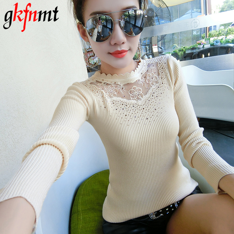 Knitted Sweater Mesh Autumn Winter Pullovers White Sexy Yellow Fashion And Lace Apricot
