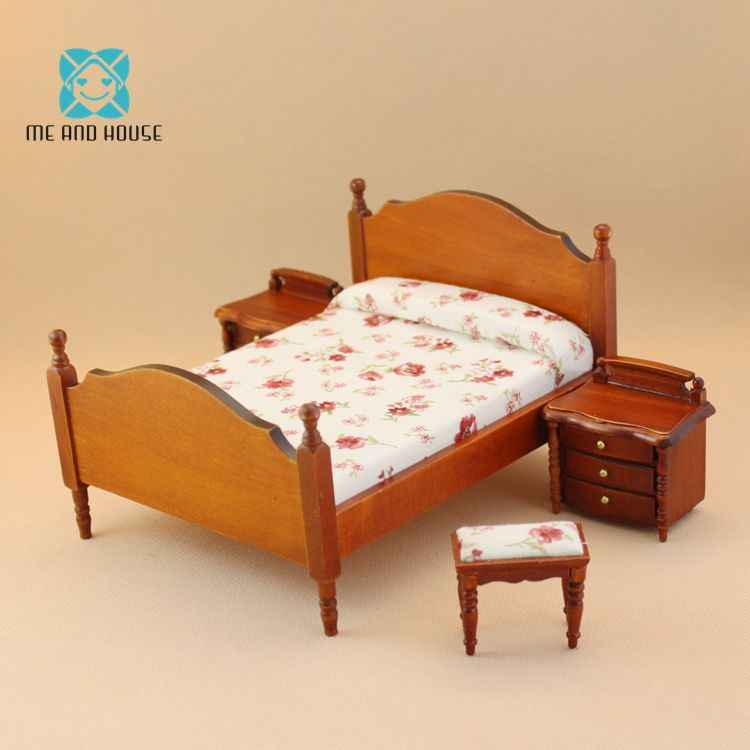 1:12 scale doll house miniature wooden furniture country bedroom set double-bed for 6 inchs doll