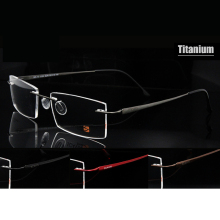 New ScavinBrand Pure Titanium Rimless Eyeglasses for Men Ultralight Memory Prescription Glasses 365-15