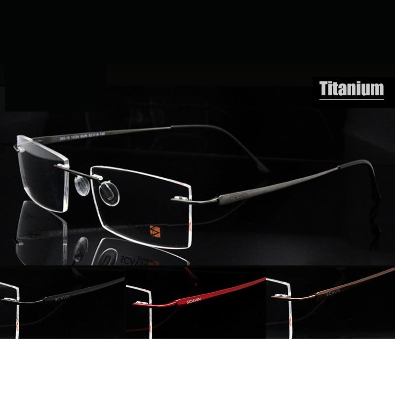 Sorbern Nova Marca de Memória Óculos Sem Aro de Titânio Puro para Os Homens  Ultraleves Óculos de grau 365-15 09de2d510e
