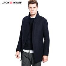 JackJones бренд мужской высокое качество Классический утолщенной шерстяное пальто мужской тонкий turn down воротник ветровки куртки 214427008