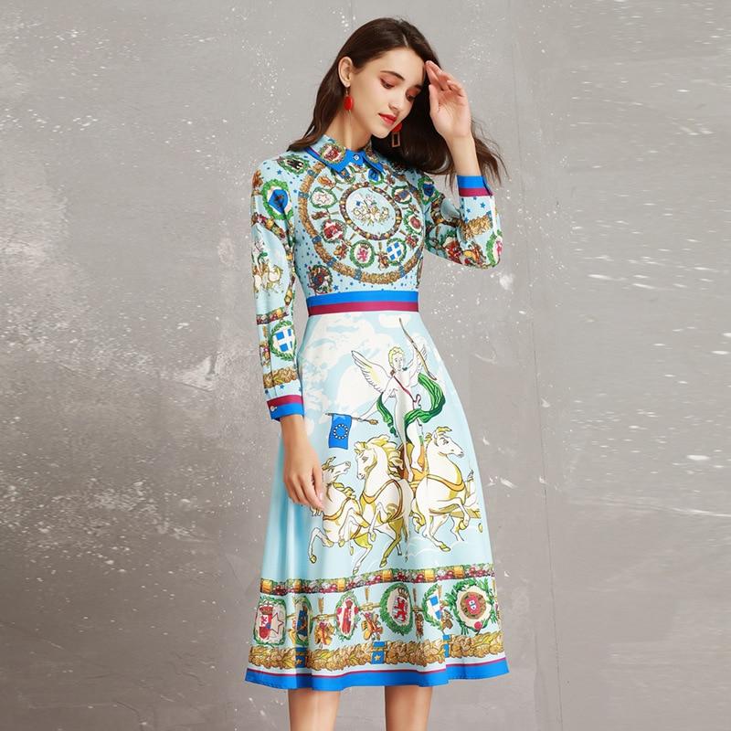 Casual De 2019 Perles Pleine Designers Mi Imprimer mollet Qualité Robe Mode Bleu Haute Robes Printemps Manches Piste Vintage UwqawF