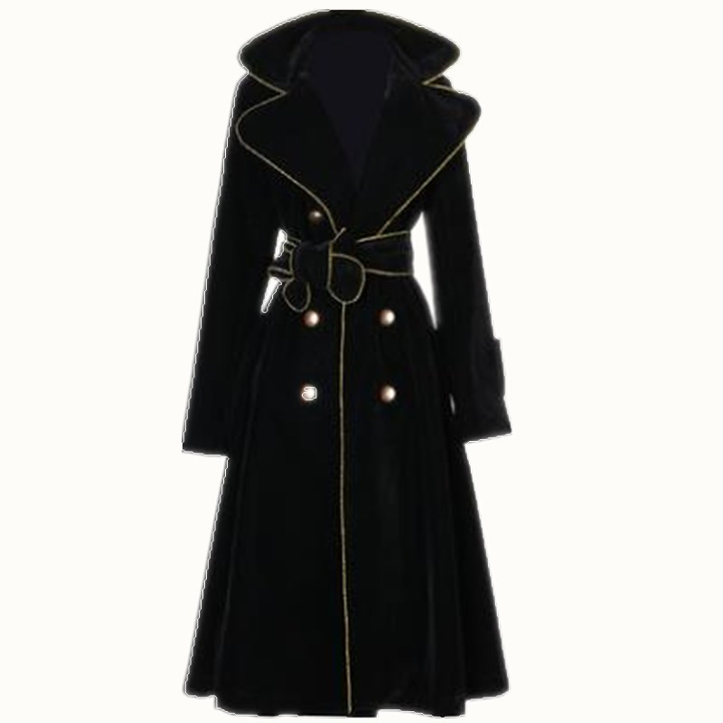 Ladies Lapel Long Double-breasted trench coat women