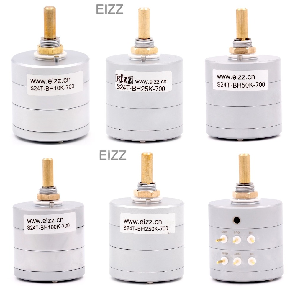 EIZZ Stereo 10K 25K 50K 100K 250K 24 Steps Volume Potentiometer LOG Stepped Attenuator Gold Plated