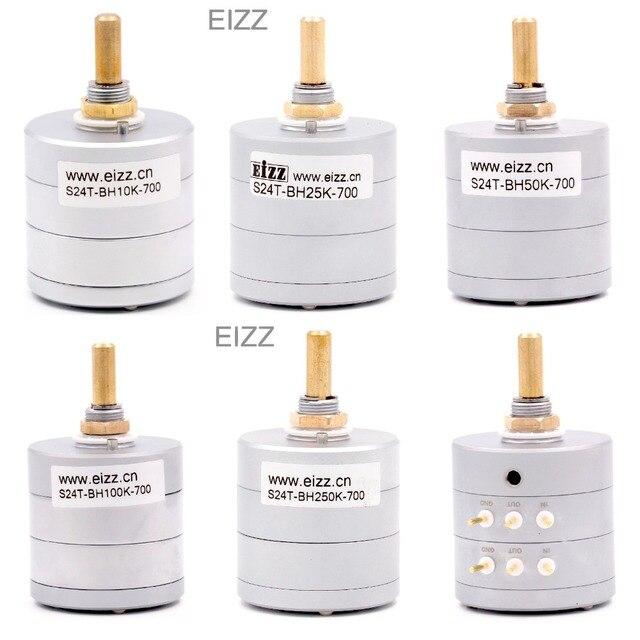 EIZZ Stereo 10 K 25 K 50 K 100 K 250 K 24 Stappen Volume Potentiometer LOG Stapte Verzwakker Goud vergulde Koperen Pins Hifi Audio DIY