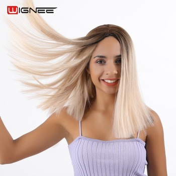 Wignee Short Straight Hair Ombre Ash Blonde Synthetic Wigs High Temperature Heat Resistant Game of Throne Short Hair Women Wig wignee 2 tone ombre brown ash blonde synthetic wig for women middle part short straight hair high temperature cosplay hair wigs