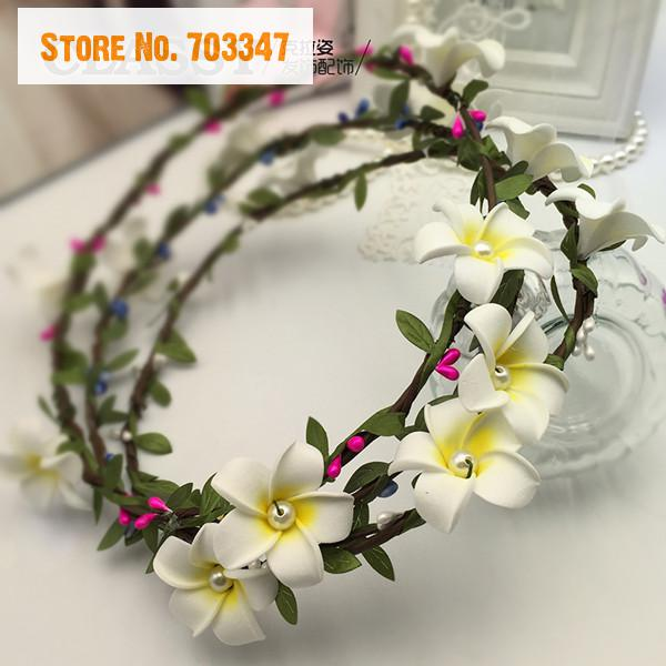 Hot Sale!Artificial Frangipani Flower Wreath Hair  For Wedding Decorations  Decorative Artificial Flower Garland *Free Shipping*