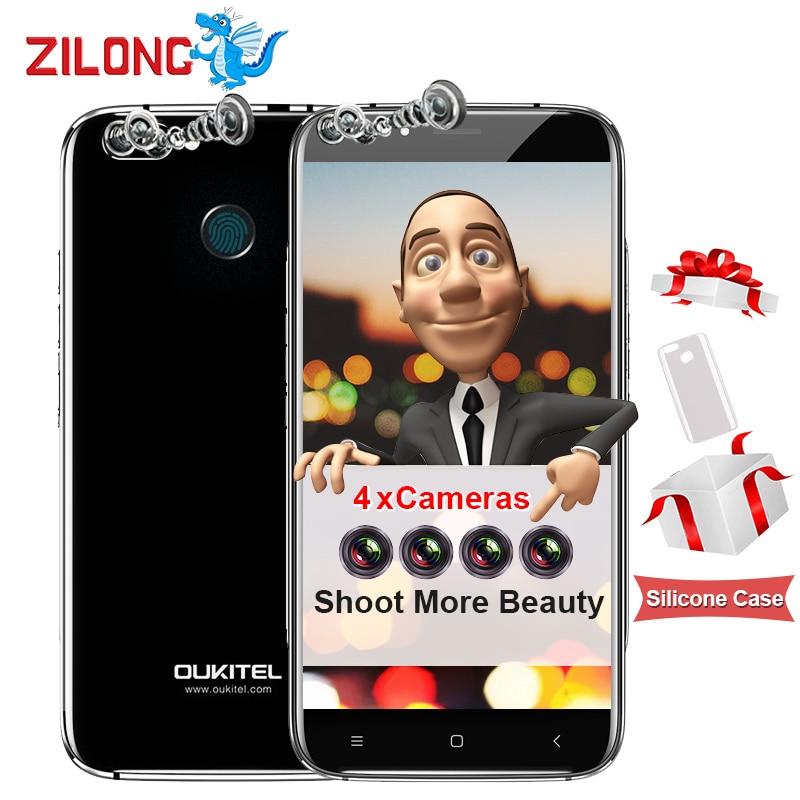 "Original Oukitel U22 Android 7.0 Smartphone 2GB RAM 16GB ROM MTK6580A Quad Core 5.5"" HD 4 Cameras 13MP Fingerprint Mobile Phone"
