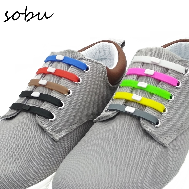 12pcs/set Shoelaces Novelty No Tie Shoelaces Unisex Elastic Silicone Shoe Laces For Men Women All Sneakers Fit Strap V001 a975got tbd b